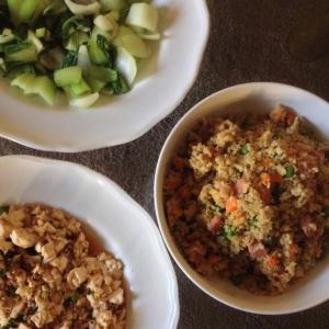 Bok choy, stir fried quinoa, and mapo tofu.