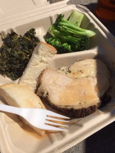 Chicken, bread, collard greens, and broccoli | Photo Courtesy of Brian L. from Yelp
